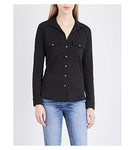 THE WHITE COMPANY Cotton-jersey shirt (Black