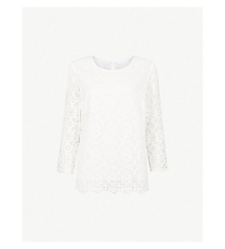 THE WHITE COMPANY Scalloped embroidered lace top (Ivory