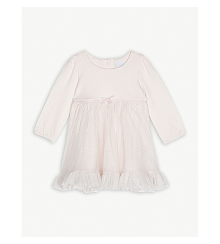 THE LITTLE WHITE COMPANY Long-sleeved tutu dress 0-24 months (Whisper+pink