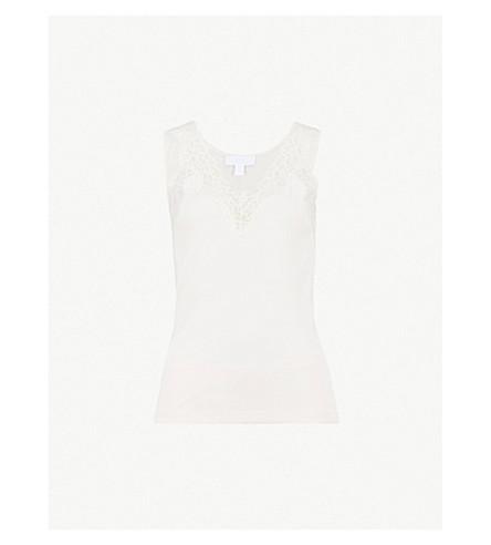 THE WHITE COMPANY Lace-trimmed jersey pyjama set (Pale+pink