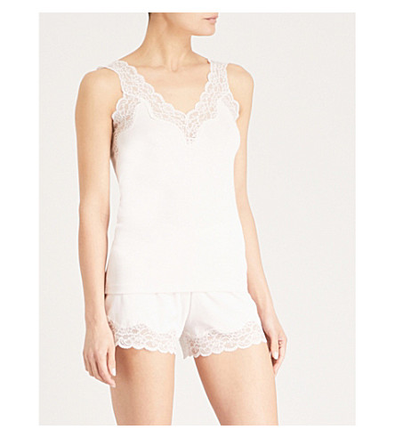 THE WHITE COMPANY Lace-trimmed jersey pyjama set (Pale+pink