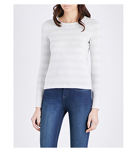 THE WHITE COMPANY Metallic-knit cotton-blend sweater (Pale+grey+marl