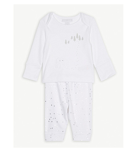 THE LITTLE WHITE COMPANY Lumi forest print pyjamas 0-24 months (White