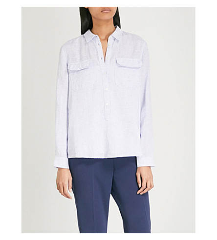 THE WHITE COMPANY Lightweight linen pocket shirt (Pale+blue