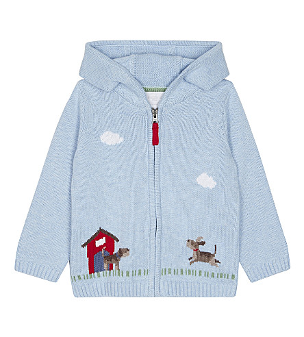THE LITTLE WHITE COMPANY Marching band hooded jumper 1-6 months (Blue+marl