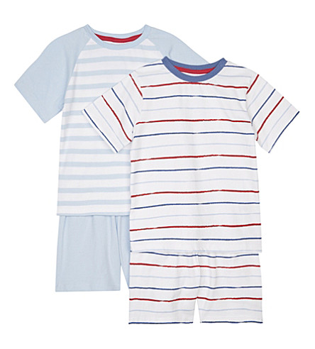 THE LITTLE WHITE COMPANY Mariner stripe cotton pyjamas pack of two 1-6 years (Blue