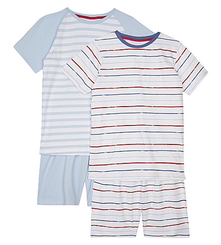 THE LITTLE WHITE COMPANY Mariner stripe cotton pyjamas pack of two 6-12 years (Blue