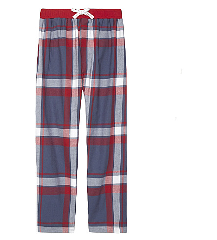 THE LITTLE WHITE COMPANY Max check flannel cotton pyjama bottoms 4-12 years (Multi