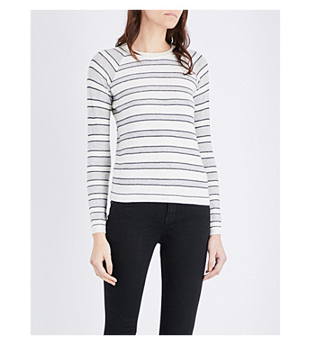 THE WHITE COMPANY Mesh-stripe cotton-blend sweater (Porcelain
