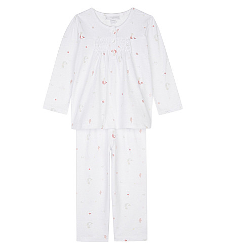 THE LITTLE WHITE COMPANY Mermaid cotton pyjamas Newborn-24 months (Pink