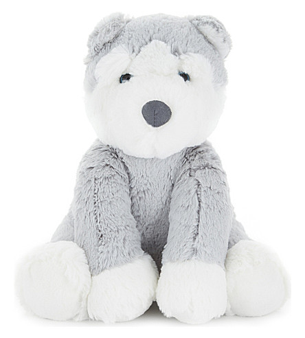 THE LITTLE WHITE COMPANY Happy Husky medium toy (Grey