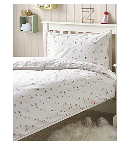 THE LITTLE WHITE COMPANY Meadow Floral cotton standard pillowcase and duvet set (Multi