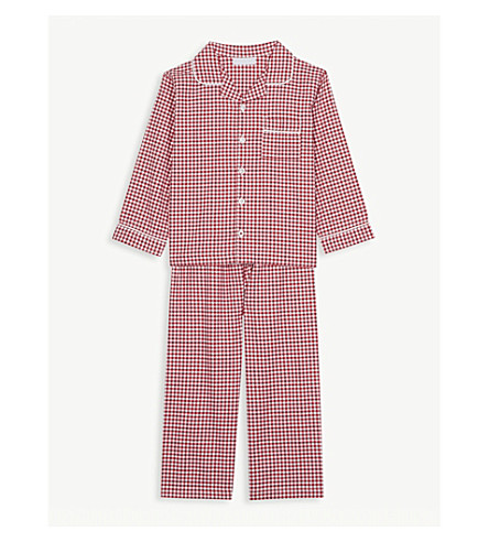 THE LITTLE WHITE COMPANY Mini gingham cotton pyjamas 1-6 years (Post+box+red