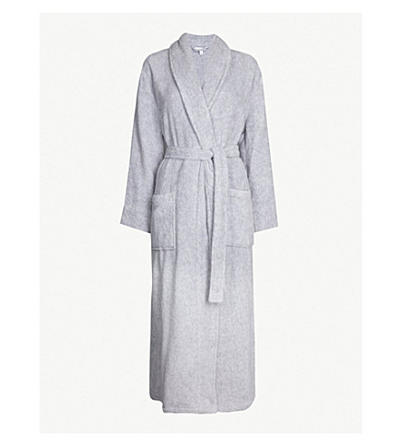 THE WHITE COMPANY Wrap-over cotton-towelling robe (Pale+grey+marl