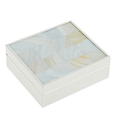 THE WHITE COMPANY Mini hinged silver-plated and mother-of-pearl box