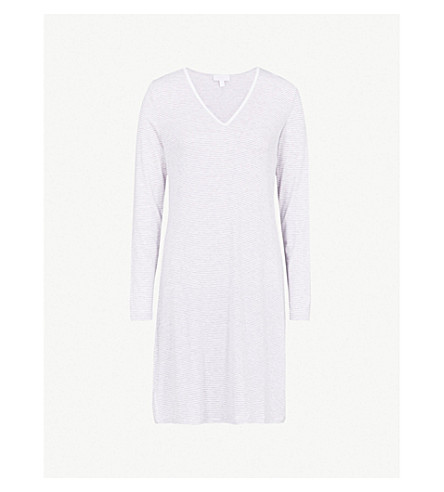 THE WHITE COMPANY Striped jersey nightdress (Grey+stripe