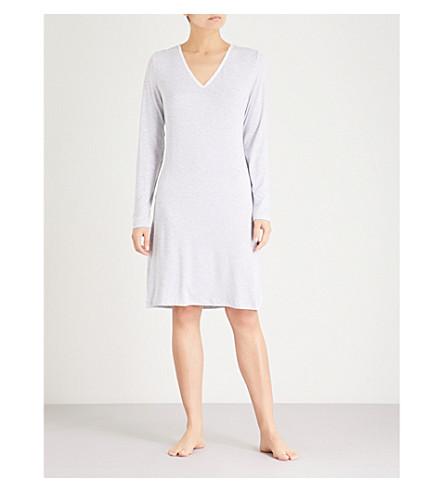 THE WHITE COMPANY Striped jersey nightdress (Grey+stripe