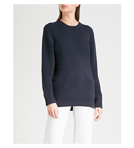 THE WHITE COMPANY Round neck cashmere jumper (Navy