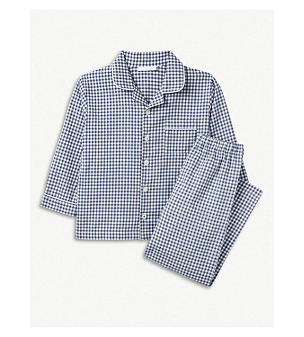 THE LITTLE WHITE COMPANY Mini gingham cotton pyjamas 1-6 years (Moonlight+blue