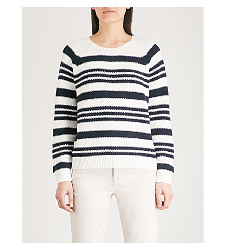 THE WHITE COMPANY Striped knitted jumper (Navy/white