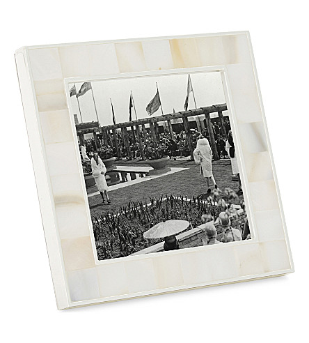 "THE WHITE COMPANY Mother of pearl photo frame 3x3"" (White"