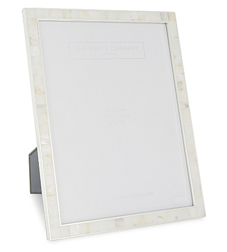 "THE WHITE COMPANY Mother of pearl photo frame 8x10"" (White"