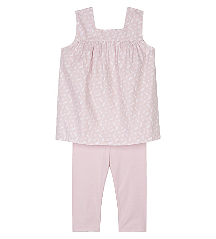 THE LITTLE WHITE COMPANY Mollie cotton dress & leggings set 0-24 months (Multi
