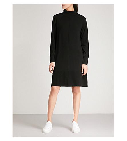 THE WHITE COMPANY Merino rib hem knitted dress (Black