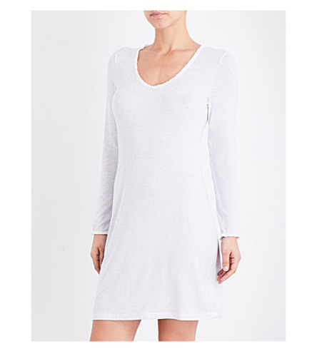 THE WHITE COMPANY Pinstripe lace-trim nightie (White/blue
