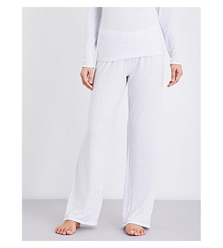 THE WHITE COMPANY Pinstripe lace-trim pyjama bottoms (White/blue