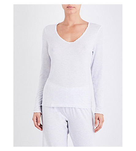 THE WHITE COMPANY Pinstripe lace-trim pyjama top (White/blue