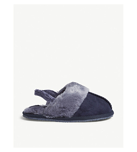 THE LITTLE WHITE COMPANY Faux-fur trim mule slippers sizes 1-12 (Blue