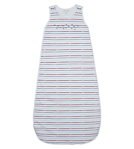 THE LITTLE WHITE COMPANY Striped sleeping bag 0.5 tog 6-12 months (Multi