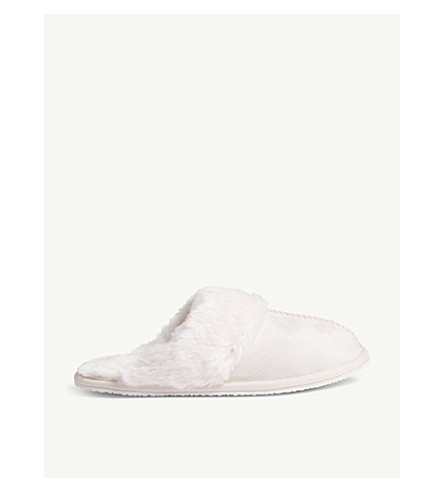 THE LITTLE WHITE COMPANY Faux-fur trim mule slippers sizes 1-12 (Pink