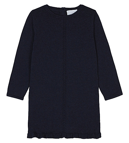 THE LITTLE WHITE COMPANY Heart motif knitted cotton dress 1-6 years (Navy