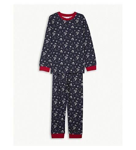 THE LITTLE WHITE COMPANY Nautical print cotton pyjamas 7-12 years (Navy