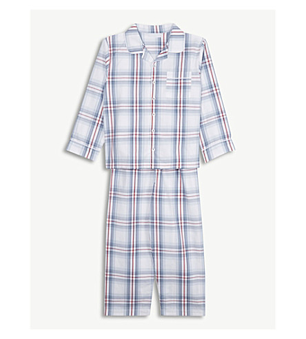THE LITTLE WHITE COMPANY Nautical check cotton pyjamas 7-12 years (Multi