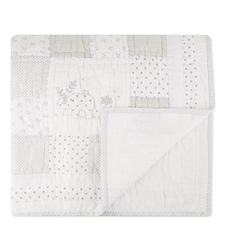 THE LITTLE WHITE COMPANY Noah's Ark cotton quilt (White