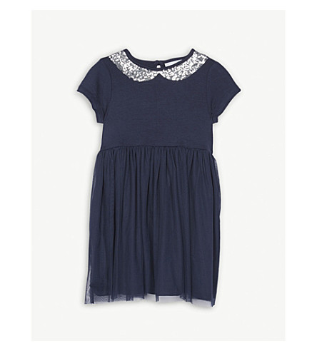 THE LITTLE WHITE COMPANY Sequin collar mesh dress 1-6 years (Navy