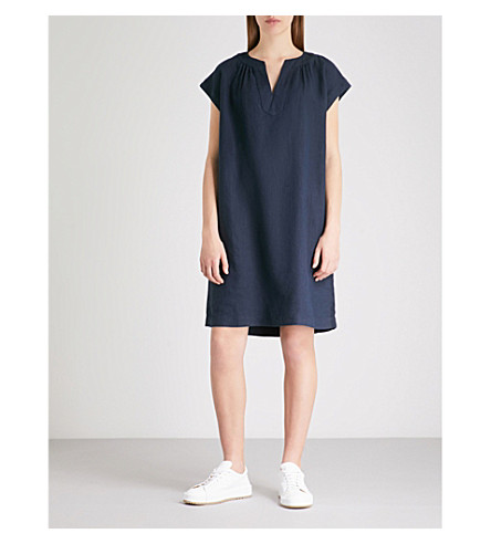 THE WHITE COMPANY Notched linen dress (French+navy