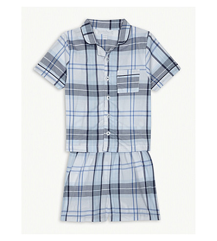 THE LITTLE WHITE COMPANY Check cotton pyjamas 1-6 years (Blue