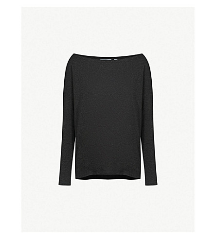 THE WHITE COMPANY Off-the-shoulder jersey top (Darkcharcmarl
