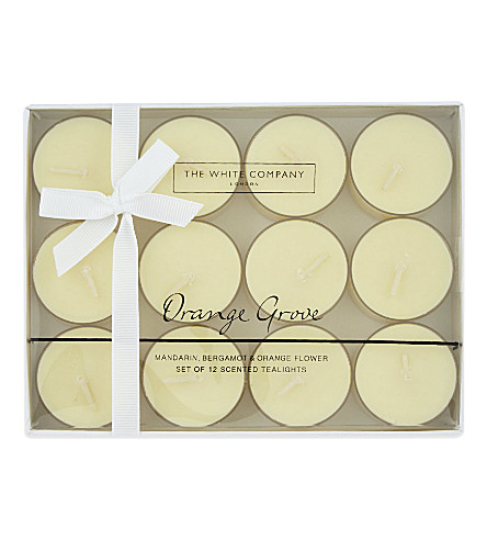THE WHITE COMPANY Orange Grove scented tea lights 12-pieces (No+colour