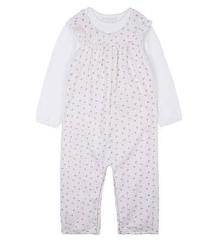 THE LITTLE WHITE COMPANY Olivia dungaree set two pieces 0-24 months (Whisper+pink