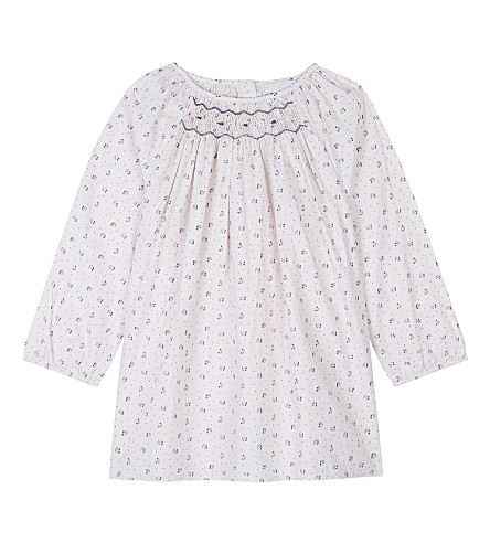 THE LITTLE WHITE COMPANY Olivia printed cotton dress 0-24 months (Whisper+pink