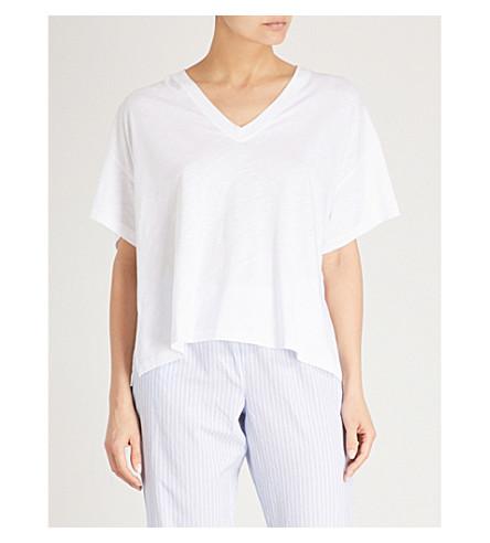 THE WHITE COMPANY Oversized side split cotton-blend T-shirt (White