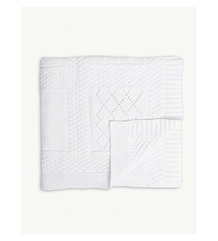 THE LITTLE WHITE COMPANY 拼贴棉婴儿毯 (白色