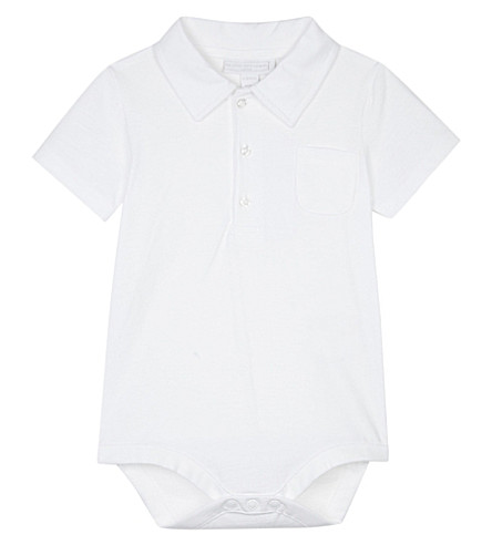 THE LITTLE WHITE COMPANY Cotton polo bodysuit 0-24 months (White