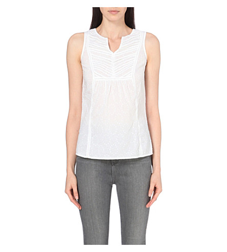 THE WHITE COMPANY Lace-trim cotton pyjama top (White