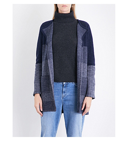 THE WHITE COMPANY Patchwork wool cardigan (Navy
